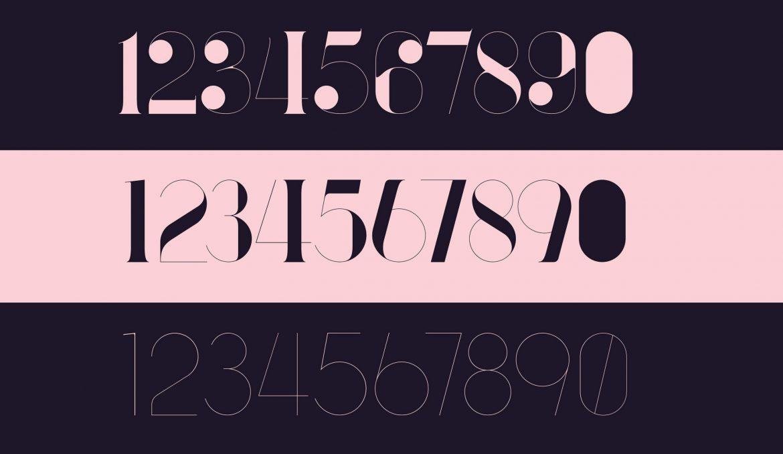 port vintage font specimen numbers